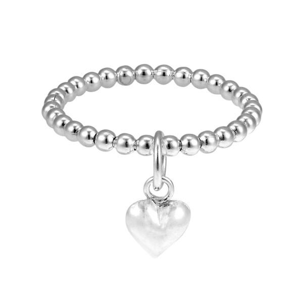 Handmade Cute Dangle Heart Eternity Bead Ball Sterling Silver Ring (Thailand)