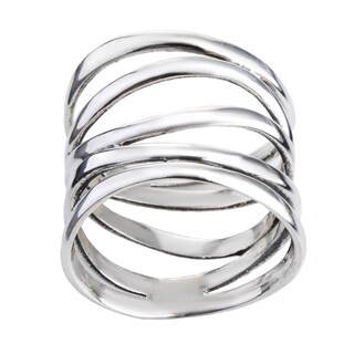 Handmade Wide Five Band Coil Wrap Sterling Silver Ring (Thailand) (More options available)
