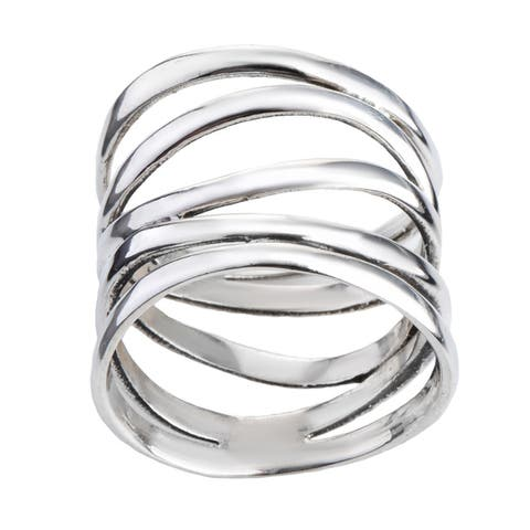 Handmade Trendy Wide Five Band Coil Wrap Sterling Silver Ring (Thailand)