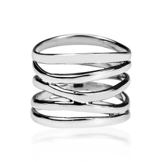 Link to Handmade Wide Five Band Coil Wrap Sterling Silver Ring (Thailand) Similar Items in Charms & Pins