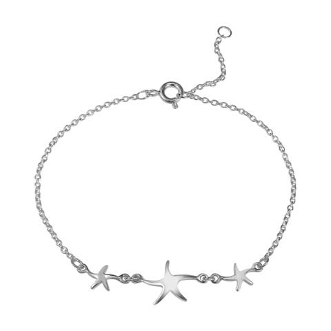 ec84bee13 Handmade Three Lucky Charm Starfish .925 Sterling Silver Bracelet (Thailand)