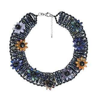 Handmade Glowing Floral Medley Multicolor Crystals Necklace (Thailand)