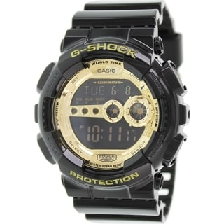 Casio Men's G-Shock GD100GB-1 Black Resin Quartz Watch with Gold Dial