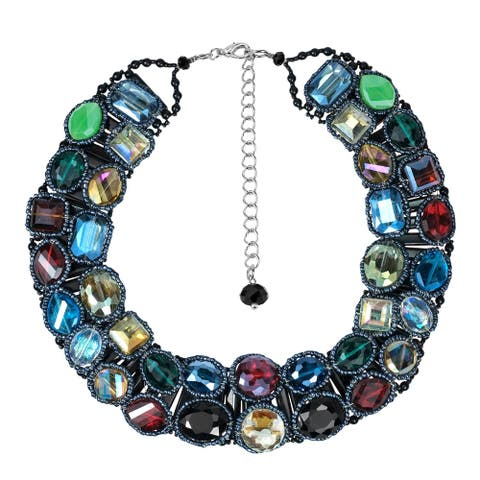 Handmade Sparkling Treasure Multicolor Crystal Statement Necklace (Thailand)