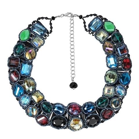 Handmade Sparkling Treasure Multicolor Crystal Statement Necklace (Thailand)