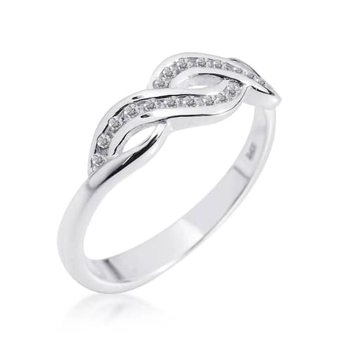 Handmade Gleaming Infinity Symbol Cubic Zirconia .925 Silver Ring (Thailand)