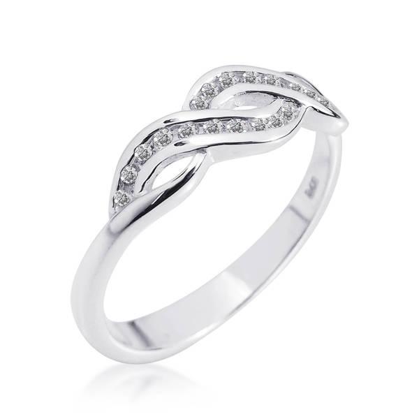 Handmade Gleaming Infinity Symbol Cubic Zirconia 925 Silver Ring