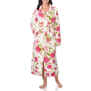 La Cera Women's Belted Floral Print Bathrobe