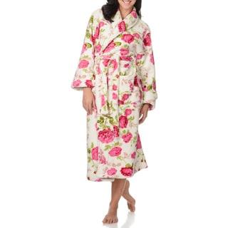 La Cera Women's Belted Floral Print Bath Robe