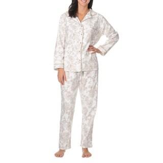 La Cera Women's Long Sleeve Floral Print Pajama Set