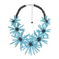 Handmade Radiant Floral Turquoise Stone Statement Necklace (Thailand)