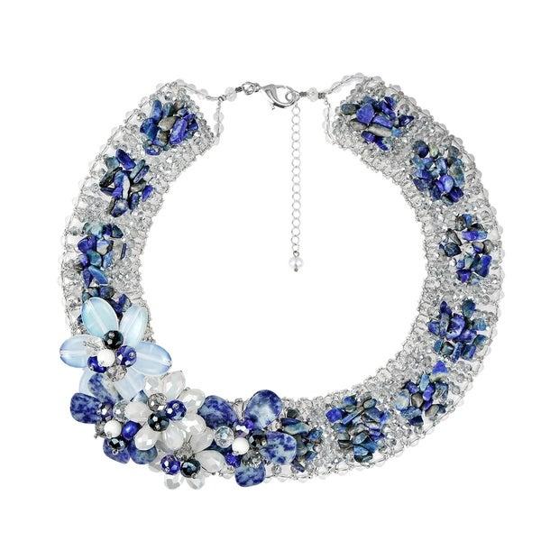 Handmade Floral Bouquet Blue Lapis Cluster Collar Statement Necklace (Thailand). Opens flyout.