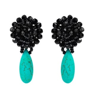Handmade Black Chrysanthemum Crystal Drop Earrings (Thailand)