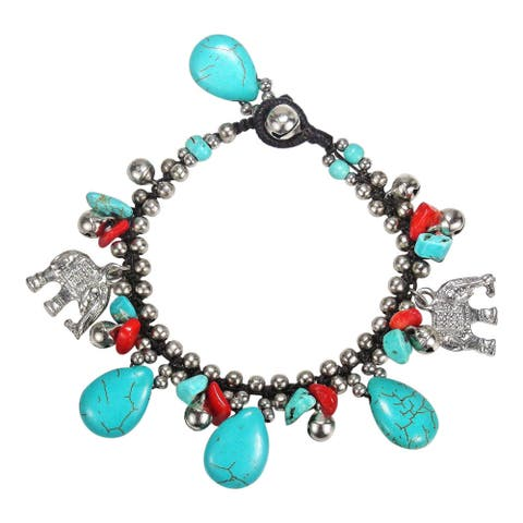Handmade Thai Elephant Turquoise Bracelet (Thailand)