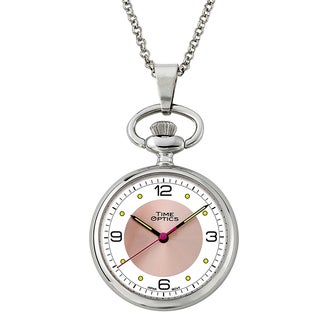 Pendant Watch with Pink Sunray Accent and 30-inch Chain