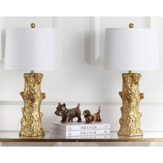 Safavieh Lighting 28.5-inch Arcadia Faux Bois Gold Table Lamp (Set of 2)