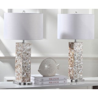 "Safavieh Lighting 28.9-inch Jacoby Cream Table Lamp (Set of 2) - 15"" x 15"" x 28"""