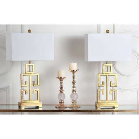 "Safavieh Lighting 28.75-inch Greek Key Antiqued Gold Table Lamp (Set of 2) - 16"" x 9"" x 29"""