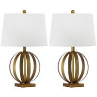 Safavieh Lighting 24.5-inch Euginia Sphere Gold Table Lamp (Set of 2)