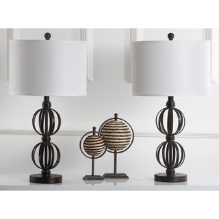 Safavieh Lighting 27.75-inch Calista Double Sphere Oil-Rubbed Bronze Table Lamp (Set of 2)
