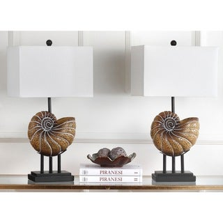 Safavieh Lighting 28-inch Nautilus Shell Light Brown Table Lamp (Set of 2)|https://ak1.ostkcdn.com/images/products/9527280/P16707748.jpg?_ostk_perf_=percv&impolicy=medium