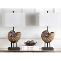 Safavieh Lighting 28-inch Nautilus Shell Light Brown Table Lamp (Set of 2)