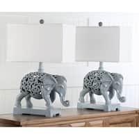 Safavieh Lighting 25.5-inch Hathi Sculpture Light Grey Table Lamp (Set of 2)