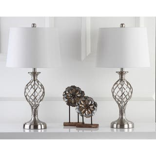 Safavieh Lighting 26.75-inch Lattice Urn Nickel Table Lamp (Set of 2)|https://ak1.ostkcdn.com/images/products/9527283/P16707750.jpg?impolicy=medium