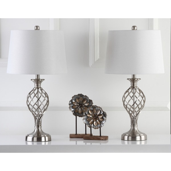 Safavieh Lighting 26.75-inch Lattice Urn Nickel Table Lamp (Set of 2)