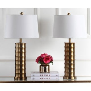Safavieh Lighting 28.5-inch Linus Brass Column Gold Table Lamp (Set of 2)