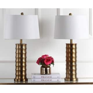 Glam table lamps for less overstock safavieh lighting 285 inch linus brass column gold table lamp set of 2 mozeypictures Images