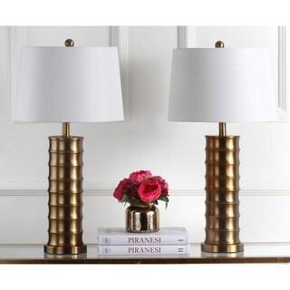 Safavieh Indoor 1 Light Linus Brass Column Gold Table Lamp (Set Of 2)