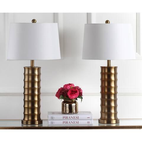 "Safavieh Lighting 28.5-inch Linus Brass Column Gold Table Lamp (Set of 2) - 15"" x 15"" x 28.5"""