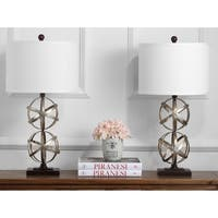 Safavieh Lighting 28-inch Haley Double Sphere Antiqued Silver Table Lamp (Set of 2)