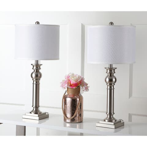 Safavieh Lighting 28-inch Argos Column Nickel Table Lamp (Set of 2)