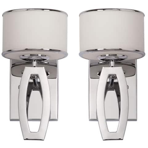 Safavieh Lighting Lenora Chrome Drum Sconce (Set of 2)