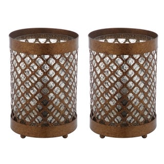 Safavieh Lighting 11.5-inch Borden Gold Hurricane Lamp (Set of 2)