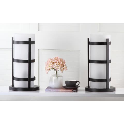 Safavieh Lighting 18-inch Minter Black Hurricane Lamp (Set of 2)