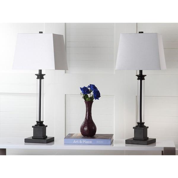 "Safavieh Lighting 31-inch Davis Clear/ Black Table Lamp (Set of 2) - 12.5""x12.5""x30.5"""