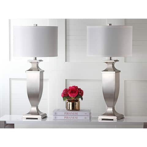 Safavieh Lighting 32-inch Ambler Nickel Table Lamp (Set of 2)