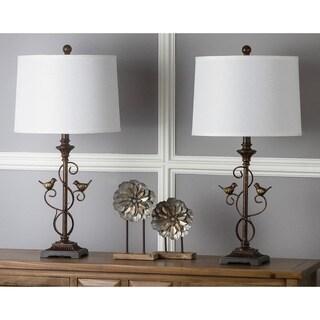 "Safavieh Lighting 28-inch Birdsong Oil-Rubbed Bronze Table Lamp (Set of 2) - 14""x14""x28"""