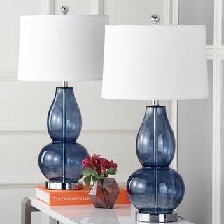 "Safavieh Lighting 28.5-inch Mercurio Blue Double Gourd Lamp (Set of 2) - 15"" x 15"" x 28.5"""