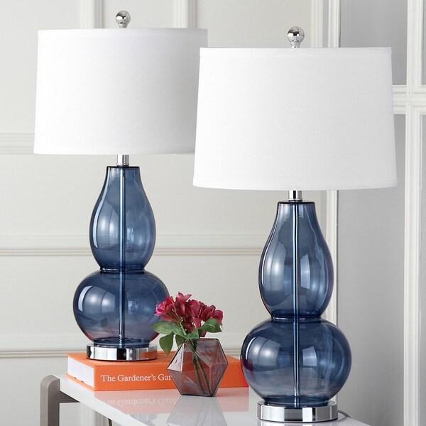 "Safavieh Lighting 28.5-inch Mercurio Blue Double Gourd Lamp (Set of 2) - 15"" x 15"" x 28.5"". Opens flyout."