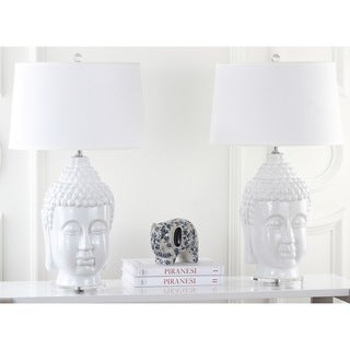 Safavieh Lighting 31-inch Serenity White Buddha Lamp (Set of 2)