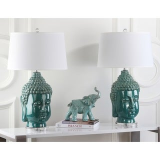 Safavieh Lighting 31-inch Serenity Teal Buddha Lamp (Set of 2)