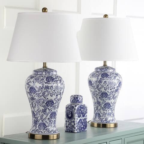 """Safavieh Lighting 29-inch Spring White/ Blue Blossom Ceramic LED Table Lamp (Set of 2) - 17"""" x 17"""" x 29"""""""