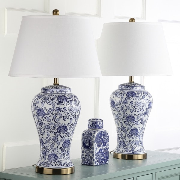 Safavieh Lighting Spring Blossom White/ Blue 29 Inch Table Lamp (Set Of 2