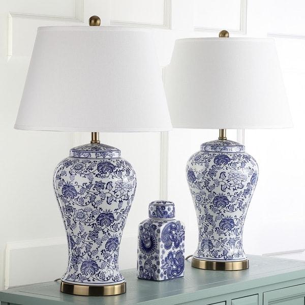 Safavieh Lighting Spring Blossom White/ Blue 29-inch Table Lamp (Set of 2)