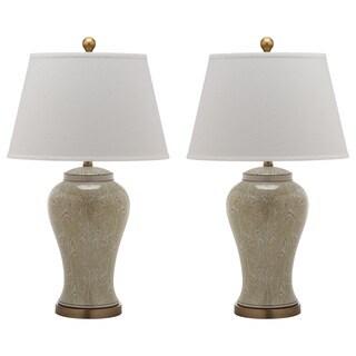 Safavieh Lighting 29-inch Spring White/ Gold Woods Table Lamp (Set of 2)