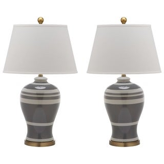 Safavieh Lighting 29-inch Pottery Grey Stripe Ginger Jar Lamp (Set of 2)